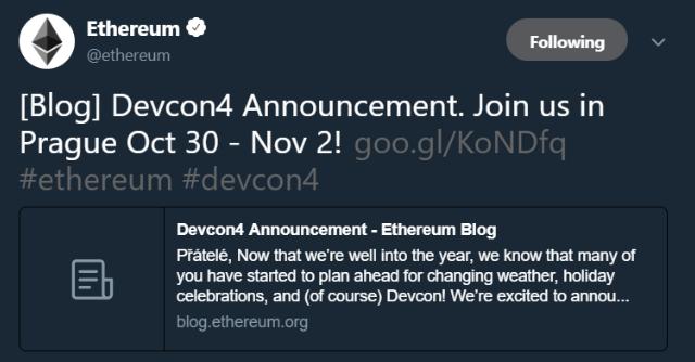 10月30日 イーサリアム 仮想通貨イベント Devcon
